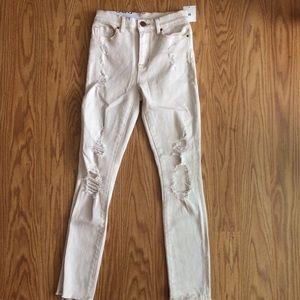 UO Street-Style Frayed Hem High Rise  Skinny Jeans